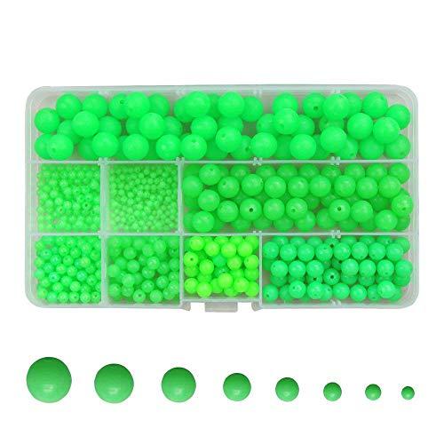 (ICE SEA 500pcs/box 8 Size Luminous Fishing Beads Hard Plastic Round/Oval Shaped Fishing Bead Eggs Assortment Fishing Lures Line Tackle Tools Floats Set (500pcs Round Beads))