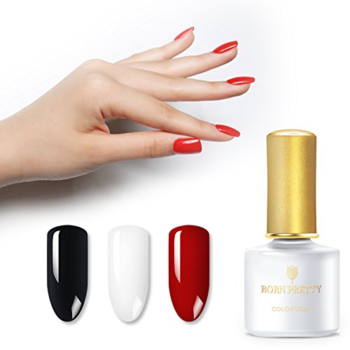 BORN PRETTY 3 Colors Nail Gel Polish Set Nail Art Pure Color Red Black White Soak Off UV LED Cured Lacquer Collection 3 Bottles Kit