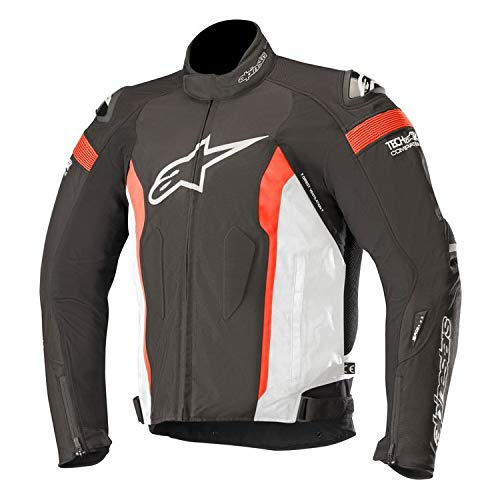 T-Missile Drystar Waterproof Textile Motorcycle Jacket for Tech-Air Race Airbag System (M, Black White Red Fluo)