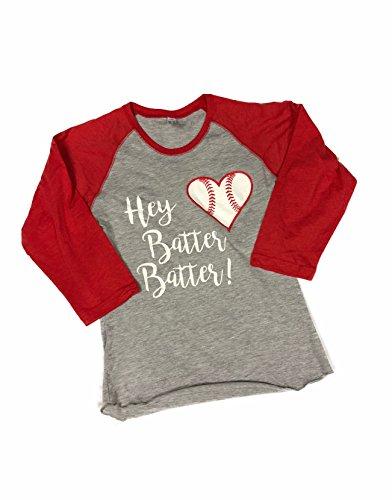 Devious Apparel Hey Batter Batter Heart 3530 TM-06 Fine Jersey T-Shirt Baseball Softball Team Mom Tee Printed Women's (Red, XL) (Designs T-shirt Softball)