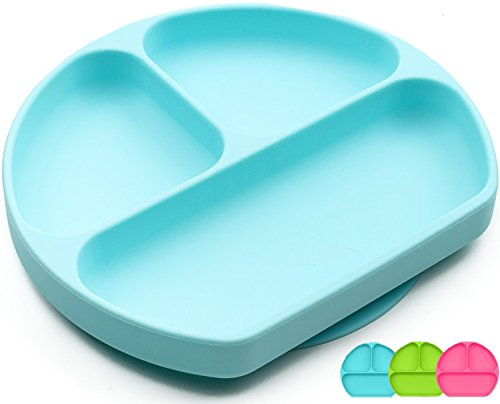 Sectional Plate - Silicone Suction Plate For Toddlers, BPA Free, Dishwasher, Microwave & Oven Safe, Non Slip, One-piece Divided Baby Placemat, Non Skid Stay Put Bowls & Feeding Dishes For Kids/Infant (Blue)