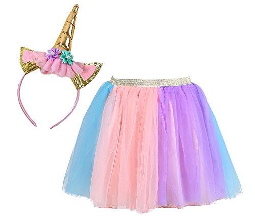 Tutu Dreams Unicorn Tutu Costume for Girls with Headband Birthday Party (Unicorn, L)