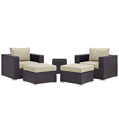 Modway Convene Wicker Rattan 5-Piece Outdoor Patio Furniture Set in Espresso Beige
