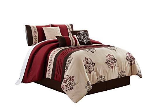 HGS 7-Pc Brice Floral Damask Shell Butterfly Embroidery Pleated Stripe Comforter Set Burgundy Brown Beige Queen ()