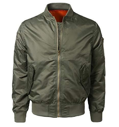 Green Spring Leisure Flight Short Full Long XINHEO Army Mens Zip Collar Jacket Stand Sleeve OnxCw6FBqR