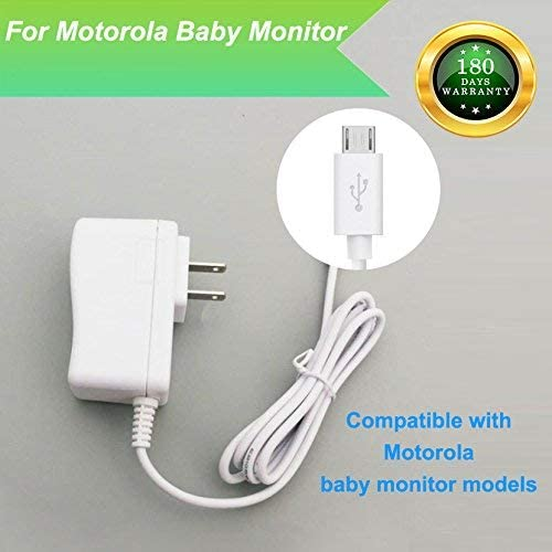 Melamine Motorola MBP854CONNECT MBP854 Baby Monitor Charger Power Cord Replacement Adapter Supply, 6.6Ft, White