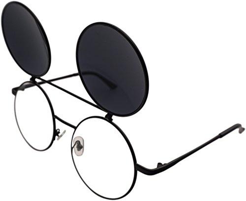 J&L Glasses Retro Flip-Up Round Goggles Seampunk Sunglasses (Black,Black, ()