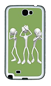 Samsung Note 2 Case 3D Silver People TPU Custom Samsung Note 2 Case Cover White