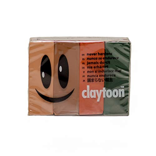 al – Claytoon – Non-Hardening Modeling Clay – VA18165 – Earth – Beige, Brown, Terra Cotta, Dark Green – 1 Pound Set (4-1/4 Pound Bars) – claymation, Gluten-Free, Non-Toxic ()