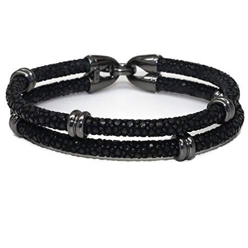 BeiChong Stingray Leather with Silver Stainless Steel Hook Clasp Bracelet Bangle for Men (Black Black)