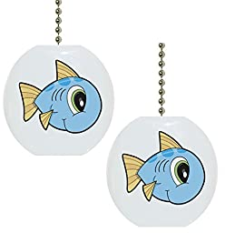 Set of 2 Baby Fish Big Eyes Solid Ceramic Fan Pulls