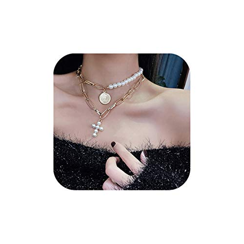 7th Moon Pearls Choker Coin Cross Layered Pendant Necklace Vintage Punk Rock Link Chain Necklace for Women Girls (Double Layers)