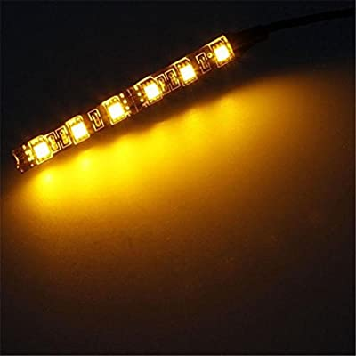 Elaco 2x Mini Strip Black 6LED led motorcycle Turn signal Universal Amber lights Strip