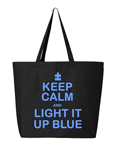 Shop4Ever Keep Calm and Light It Up Blue Heavy Canvas Tote A