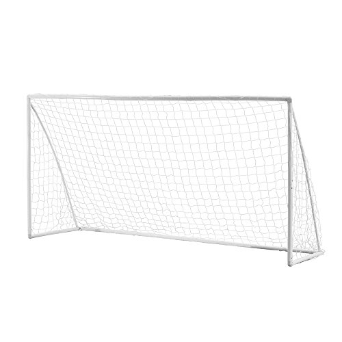 Woodworm 12' x 6' portable quick setup plastic soccer goal for home, clubs & coaches - net & ground pegs included