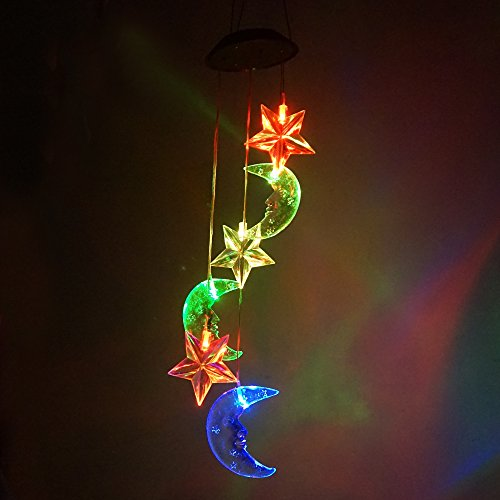 Moon & Star LED Solar Wind Chime Nigh Light, Colors Changing, by Yeyo