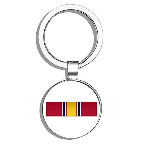 - HJ Media National Defense Service Ribbon Metal Round Metal Key Chain Keychain Ring