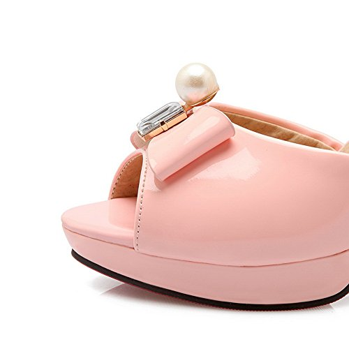 AdeeSu Womens Beaded Bows Metal Buckles Platform Urethane Heeled Sandals SLC03580 Pink QJbo8P7Z9h