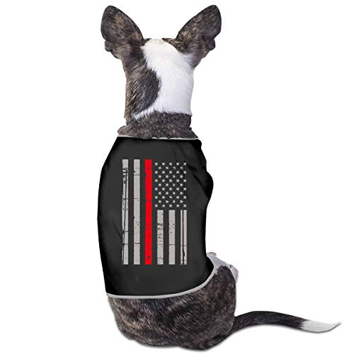 BLACKOD-PET Firefighter Thin Red Line Flag Puppy Dog Shirts Dog Costume Pets Clothing Warm Vest T-Shirt -