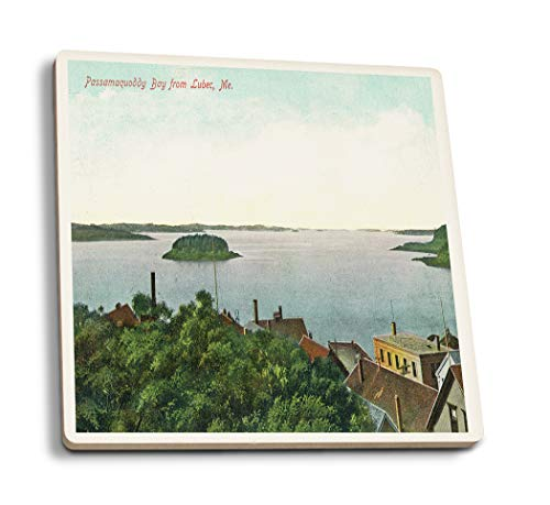 Lantern Press Lubec, Maine - Aerial View of Passamaquoddy Bay (Set of 4 Ceramic Coasters - Cork-Backed, Absorbent)