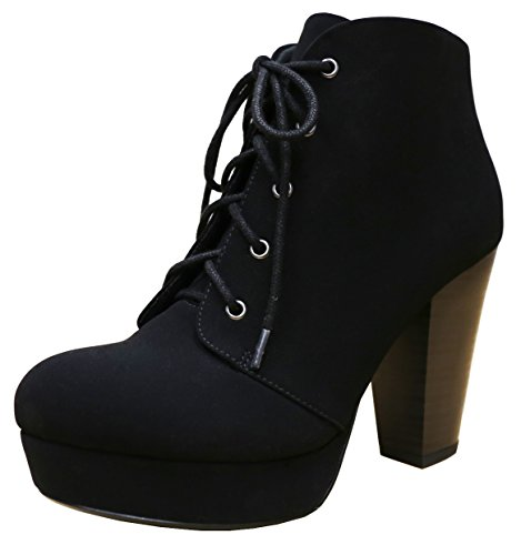 Cambridge Select Women's Platform Lace-Up Chunky Stacked Heel Ankle Bootie,8 B(M) US,Black (Heel Lace Up Platform)