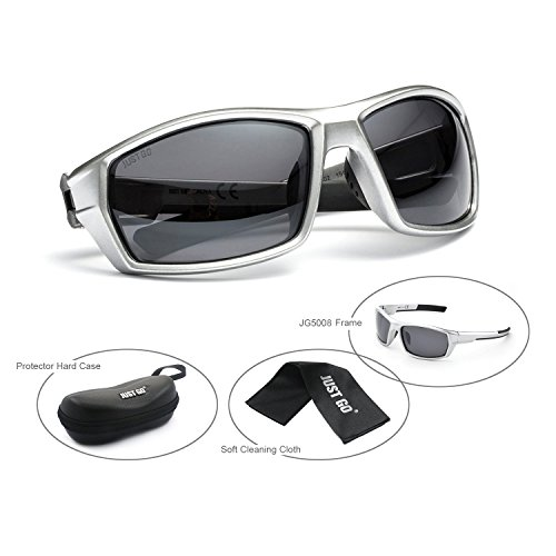 Just Go Polarized Sports Sunglasses for Baseball Running Cycling Fishing Golf for Men Women, Silver, - Ocean Sunglasses Racing