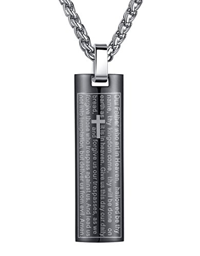Men's Stainless Steel Lord's Prayer and Cross Pendant Necklace, Black, 24