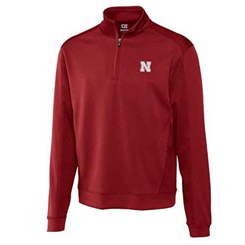 Cutter & Buck NCAA Nebraska Cornhuskers Men's Edge Half Zip Top, 3X-Large, Cardinal Red