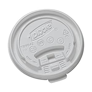 Dixie TB9542 Tear Back Lid for 10-16 oz PerfecTouch and 12-16 oz Paper Hot Cups, White (Case of 10 Packs, 100 Lids per Pack)