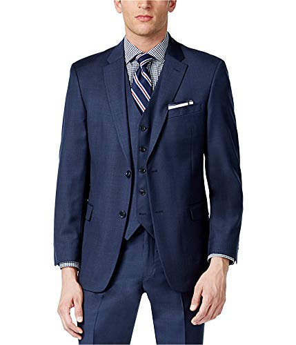 Tommy Hilfiger Mens 2 Button Side Vent Trim Fit 100% Wool Suit Separate Coat,  Blue, 38 Long
