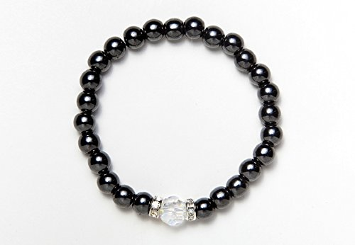 Black Single Swarovski Crystal Magnetic Stretch Bracelet (7) -  MAGNEHEALTH