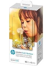 HP Sprocket Studio Fotopapier en Patronen (80 Vellen) 10x15 cm Papier en 2 Inktpatronen