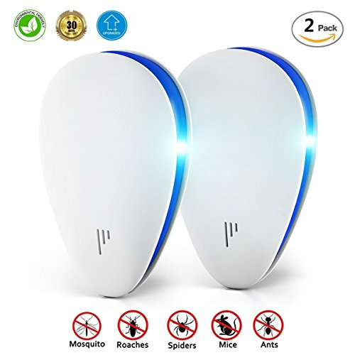 Ultrasonic Pest Repeller   2 Pack Electronic Pest Control Repellent Plug In  Repels Away Insects  Mice  Roaches  Bugs  Flies  Fleas  Ants  Mosquitoes  Spiders  Environment Friendly