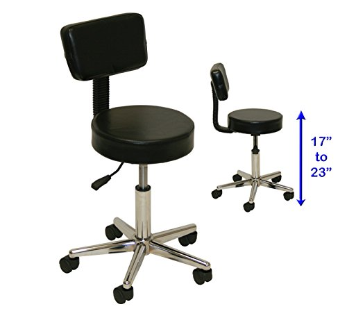 LCL Beauty Black Air-Lift Swivel Technician Stool with - Economy Stool Step