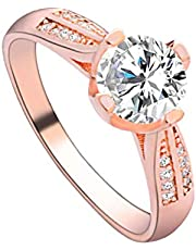 Silver Elegant Flower Engagement Ring with Clear Fine Jewelry Gift for Women Size 6-10