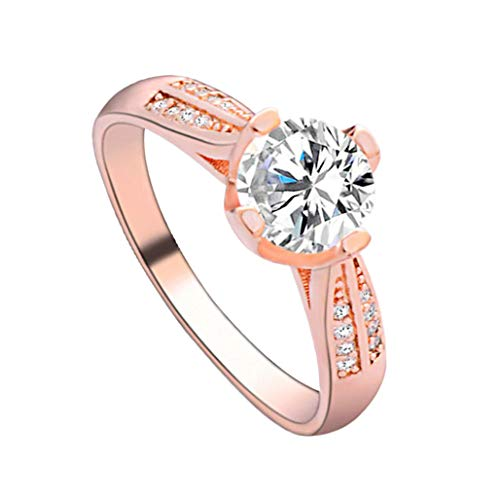 Silver Elegant Flower Engagement Ring with Clear Fine Jewelry Gift for Women Size 6-10 (Rose Gold -6, 8)