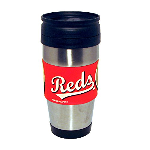 Hunter Mfg. LLP MLB Cincinnati Reds Stainless Steel Travel Tumbler with PVC Wrap, 15-Ounce, Team Color