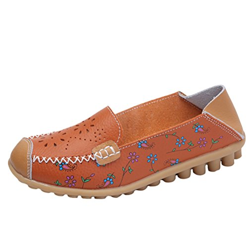 Leather Loafer Style Mordenmiss Moccasins Driving 2 Women's on Orange Floral Slip qA441xE6