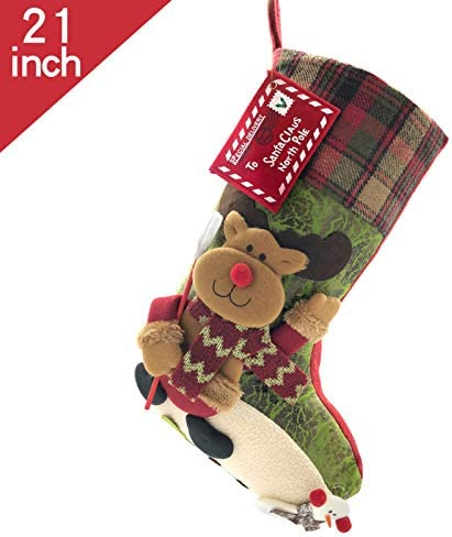 snowflakes and ornaments stockings Red and Green Christmas Leg Warmers with Santa hats Ready to Ship. 14 inches long
