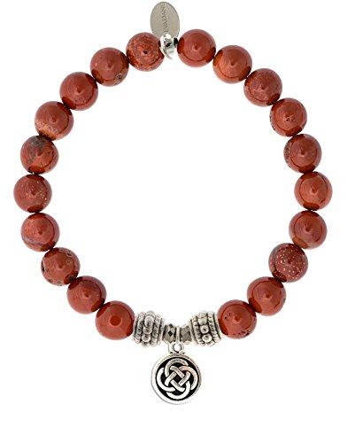 EvaDane Natural Red Jasper Gemstone Rope Bead Celtic Knot Charm Stretch Bracelet - Size 9 Inch ( ()