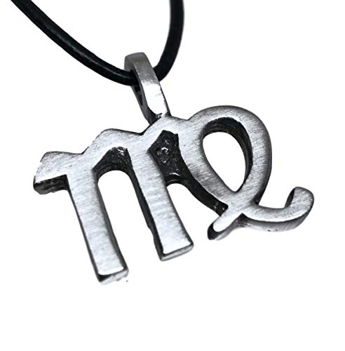 Symbols Virgo Zodiac - Pewter Virgo The Virgin Zodiac (August 24 - September 23) Astrology Pendant on Leather Necklace