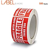 """LABEL&MORE Fragile Stickers for Moving 2""""x3"""" Red Handle with Care Warning Sticker for Safe Shipping and Packing of Goods Strong Adhesive Sufficient Quantity Home Moving Supply and More - 500 Labels"""