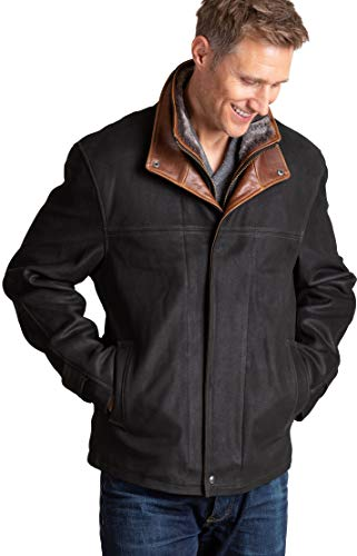 - Overland Sheepskin Co Newsboy Kildare Goatskin Leather Jacket with Removable Shearling Collar
