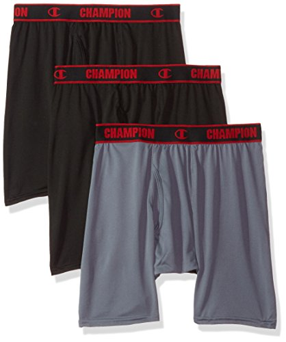 Champion Men's 3-Pack Active Performance Long Boxer Brief, Black/Stormy Night/Black, ()