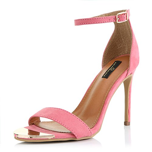 Medium Short Womens Heel (DailyShoes Women's Stilettos Sandal Open Toe Ankle Buckle Strap Platform Evening Party Dress Casual Shoes, Mauve SV, 7.5 B(M) US)