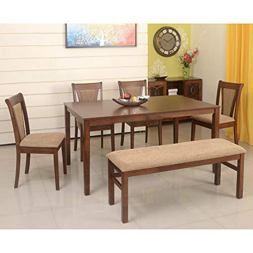 @home by Nilkamal Jewel 6 Seater Dining Table Set  Walnut