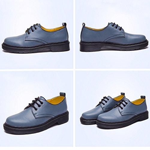 QIYUN.Z Mujeres Del Estilo De La Escuela De Inglaterra Baja Eje Martin Solos Zapatos Con Cordones De La Vendimia Azul