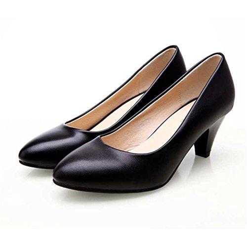 Heel Baiscar Med Pointed Pumps Leather Soft Black Raiberm Women Leather Toe Black Fashion Shoes White HrFnrtU