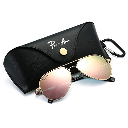 Pro Acme Small Polarized Aviator Sunglasses for Adult Small Face and Junior,52mm (Gold Frame/Pink Mirrored Lens)