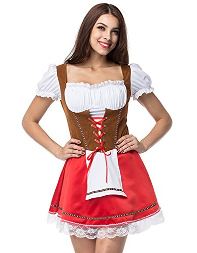 Lusiya Women's Cute Bavarian Dirndl Dress For Beer